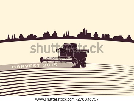 Silhouette background of harvesting combine at  farmland. - stock vector