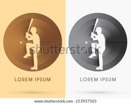 Silhouette Baseball Player,ready to hit a ball, on brown and black circle background, logo, symbol, icon, graphic, vector. - stock vector
