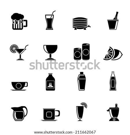 Silhouette beverages and drink icons - vector  icon set - stock vector