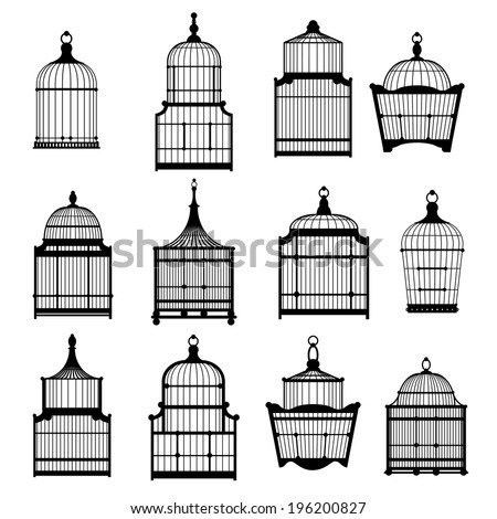 silhouette birdcages collection set. vector illustration eps10 - stock vector