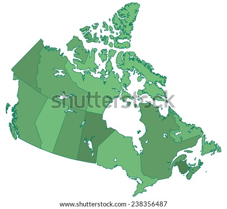 Silhouette border regions map of the Canada. All objects are independent and fully editable  - stock vector