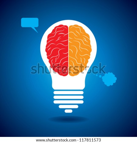 silhouette brain with idea and thought bubble - stock vector
