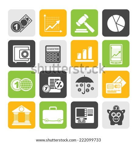 Silhouette Business and finance icons - vector icon set - stock vector
