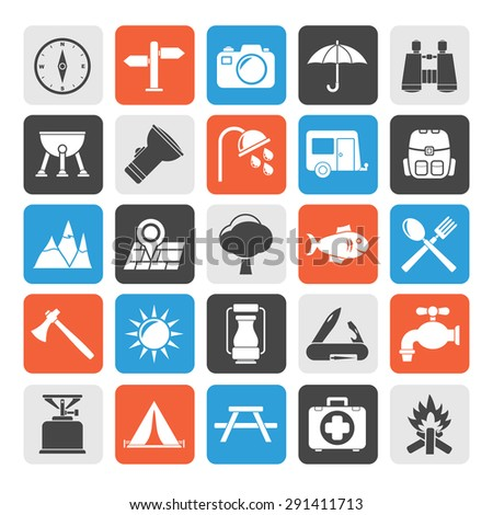 Silhouette Camping and tourism icons - vector icon set - stock vector