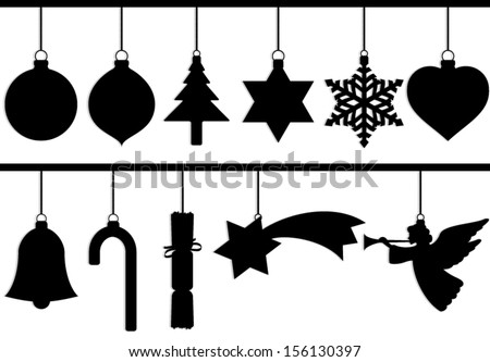 silhouette christmas tree decoration set/ vector illustration - stock vector
