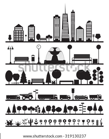 Silhouette City, Park, Forest, Road  Elements. EPS10 - stock vector