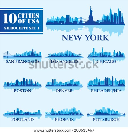 Silhouette city set of USA 1 on blue. Vector illustration - stock vector