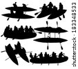 Silhouette collection people rafters on boats,  catamaran and kayaks.  Vector illustration. - stock vector