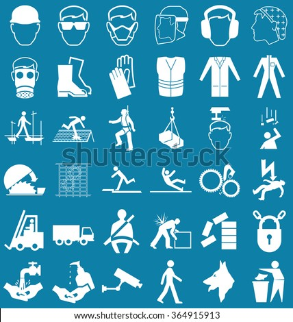 Silhouette construction manufacturing and engineering health and safety related graphics set isolated on blue background - stock vector