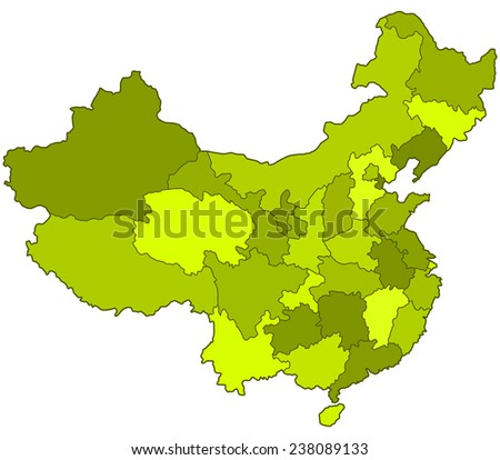 Silhouette contour border map of the China regions. All objects are independent and fully editable.   - stock vector