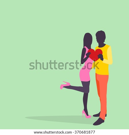 Silhouette Couple Lovers Hold Heart Embrace Colorful Fashion Dress Flat Vector Illustration - stock vector