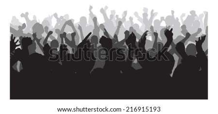 Silhouette crowd raising hands during concert over white background. Vector image - stock vector