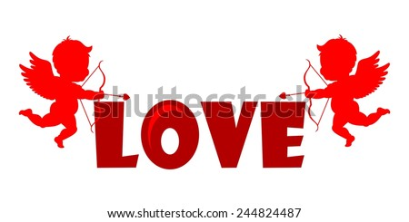 Silhouette Cupids holding a LOVE Banner - stock vector