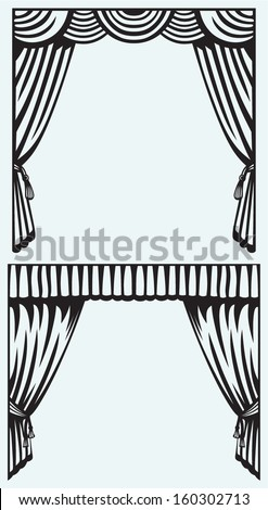 Silhouette curtain isolated on blue background - stock vector