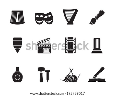 Silhouette Different kind of art icons - vector icon set  - stock vector
