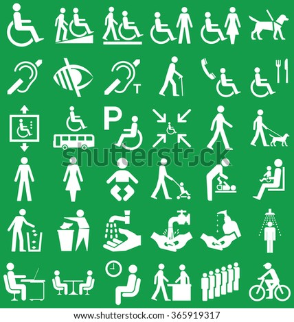 Silhouette disability and people related graphics collection isolated on green background - stock vector