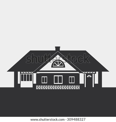 Silhouette drawing of a large cottage with a loft. Dark figure on a light background. - stock vector