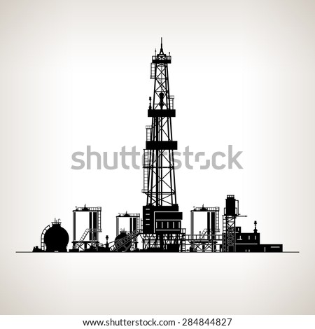 Silhouette Drilling Rig, Oil Rig, Machine which Creates Holes in the Earth, Oil Well Drilling, Vector Illustration - stock vector