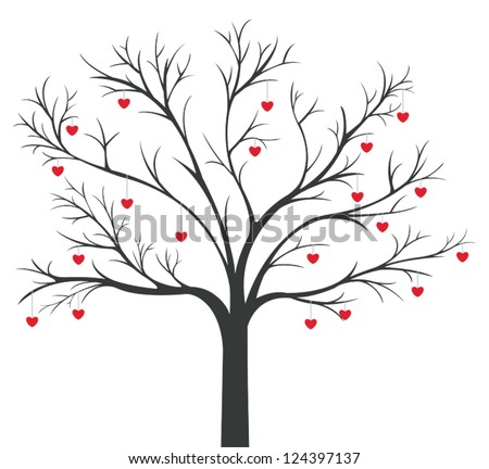 Silhouette dry leafless tree with red Hearts hanging on the branches for love and valentine concept, create by vector - stock vector