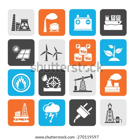 Silhouette Electricity and Energy source icons - vector icon set - stock vector