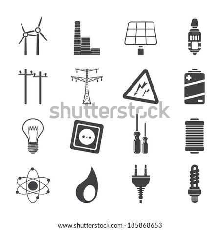 Silhouette Electricity,  power and energy icons - vector icon set - stock vector
