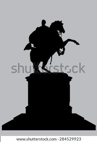 Silhouette Equestrian Statue of Bolivar in Caracas Venezuela - stock vector