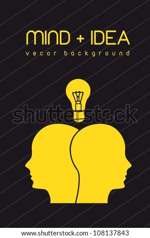 silhouette face with bulb, mind and idea. vector illustration - stock vector