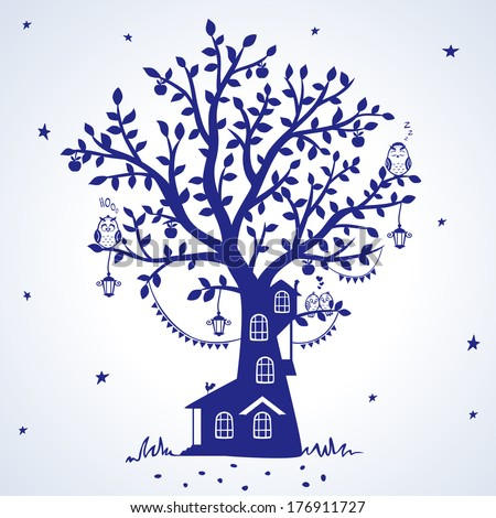 silhouette fairytale tree with house with funny birds - stock vector