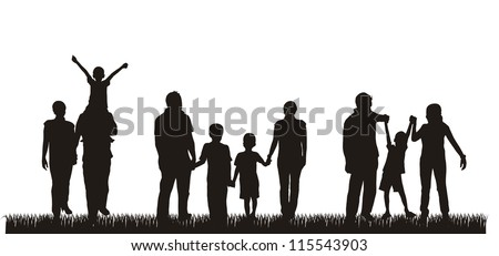 silhouette family over grass background. vector illustration - stock vector
