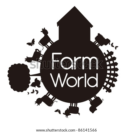 silhouette farm world isolated over white background. vector - stock vector