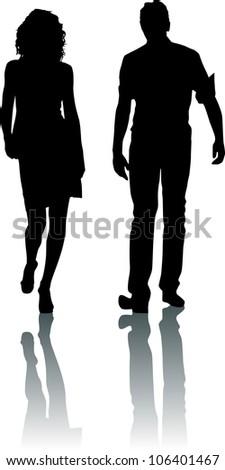 Silhouette fashion couple - stock vector
