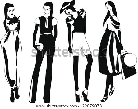 silhouette fashion girls - stock vector