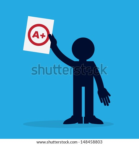Silhouette figure holding up a piece of paper with an A plus grade  - stock vector