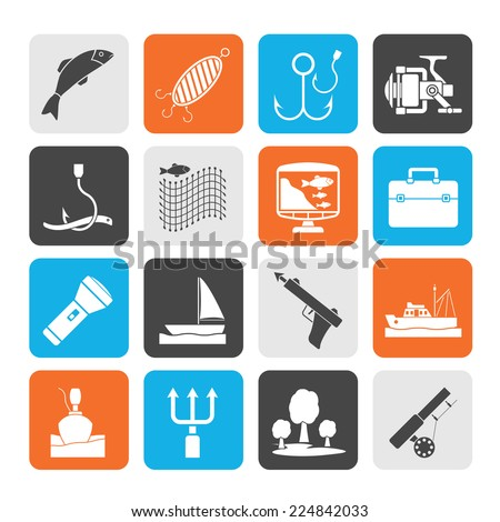 Silhouette Fishing industry icons - vector icon set - stock vector