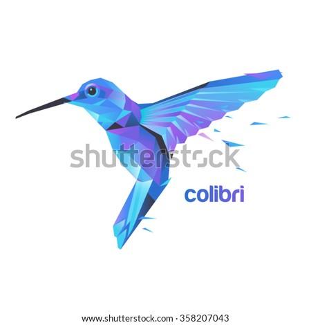 Silhouette flying hummingbirds. Stylized colibri illustration. - stock vector