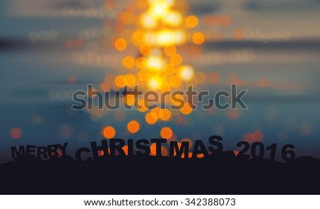 silhouette from Merry Christmas 2016 text on  bokeh night city in water background - stock vector