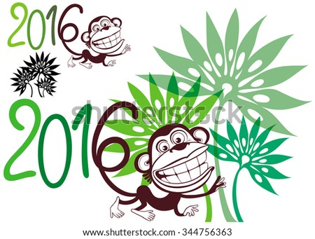 Silhouette fun monkey on a background of palm trees. Symbol of the year - stock vector