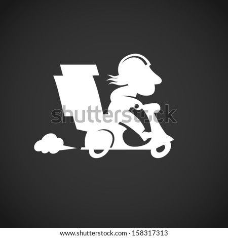 Silhouette funny pizza delivery man on motorbike. Cartoon character in retro style. It can be used for decorating of invitations, cards, menu, decoration for bags and clothes. - stock vector