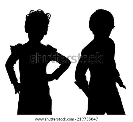 silhouette girland boy on white background vector - stock vector