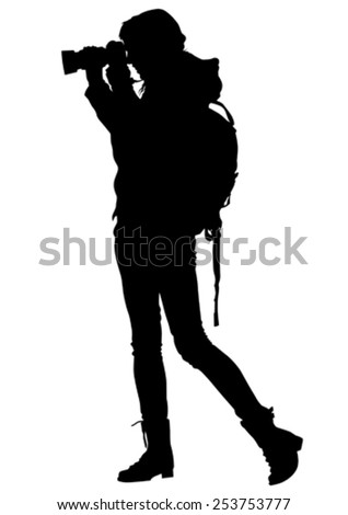Silhouette girls with a camera on white background - stock vector