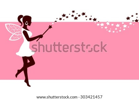 Silhouette graceful fairies with wings and a magic wand on a pink background - stock vector