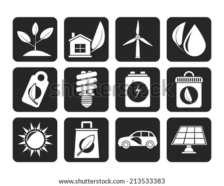Silhouette Green and Environment Icons - vector icon set - stock vector