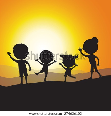 Silhouette happy family at sunset.  - stock vector