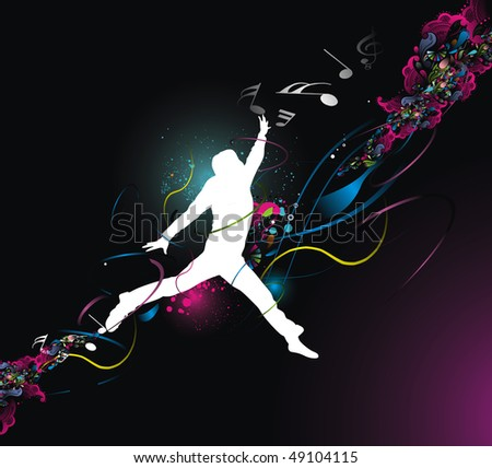 silhouette happy men jumping with color full wave line background, Vector Illustration, No mesh in this Vector - stock vector