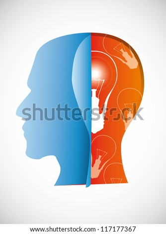 silhouette  head with bulp over white background. vector eps 10. - stock vector