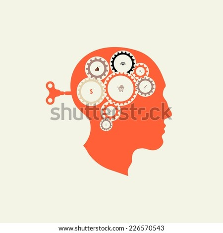 Silhouette head with the key men in the back. Brain Starts key. Including the brain in the form of gears. Included in the work. The generation of ideas. Brainstorming. The search for solutions. - stock vector