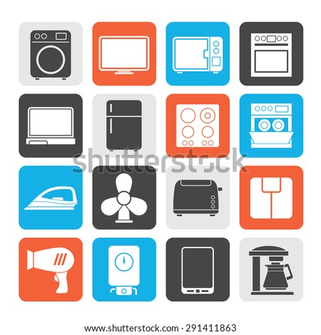 Silhouette home appliance icons - vector icon set - stock vector