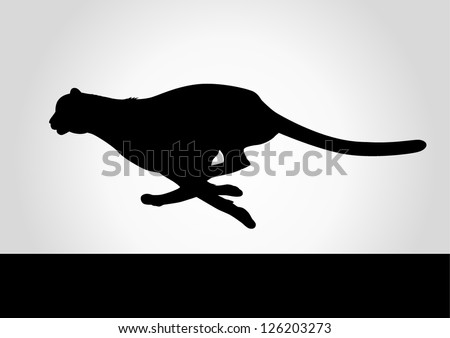 Silhouette illustration of a cheetah - stock vector