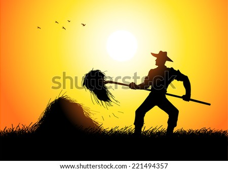 Silhouette illustration of a farmer with a pitchfork collecting hay - stock vector