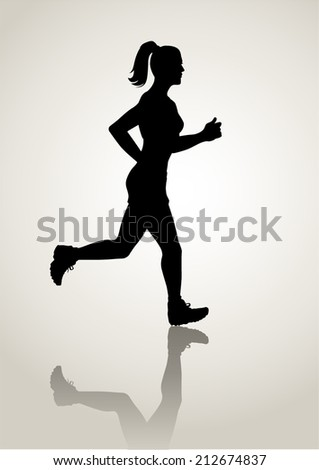 Silhouette illustration of a female figure jogging - stock vector